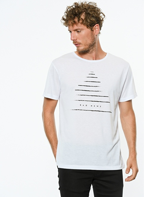 Hyperfolk Baskılı Tişört Beyaz